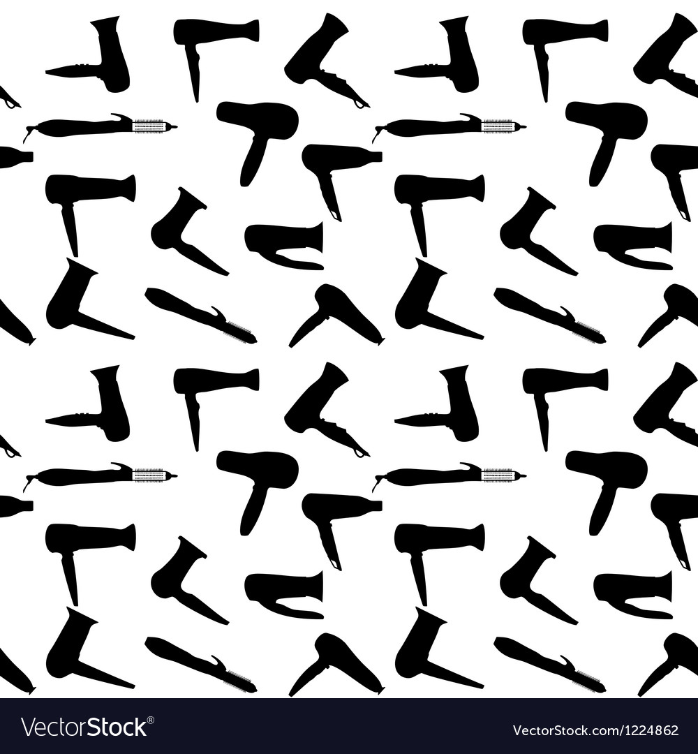 Seamless pattern of hairdryers silhouettes vector image