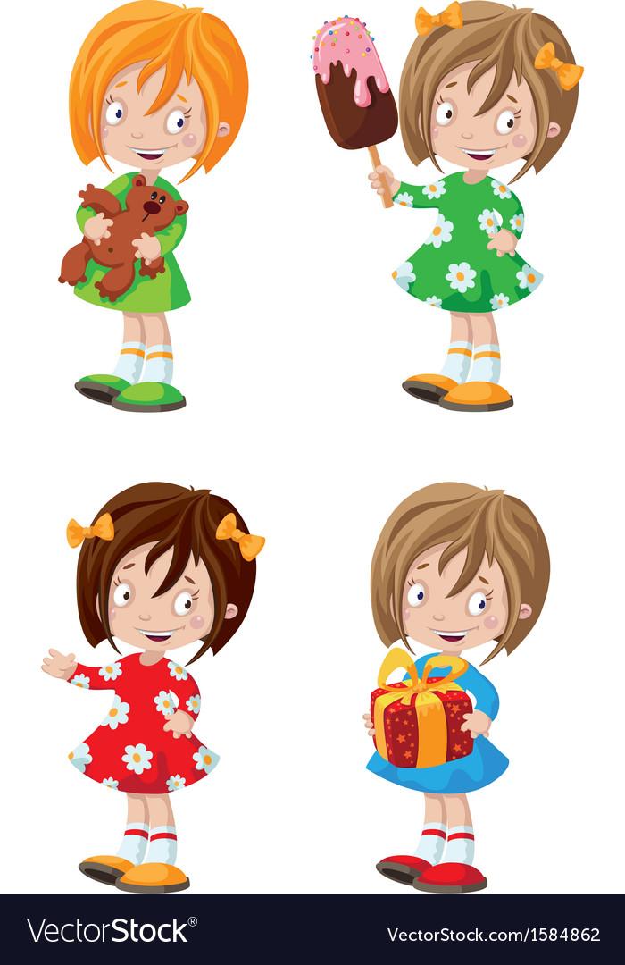 Happy girl set vector image