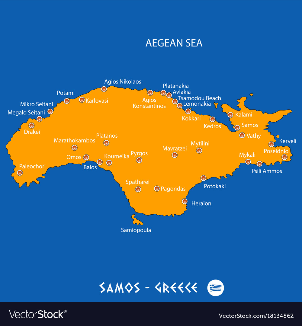 Island of samos in greece orange map and blue Vector Image