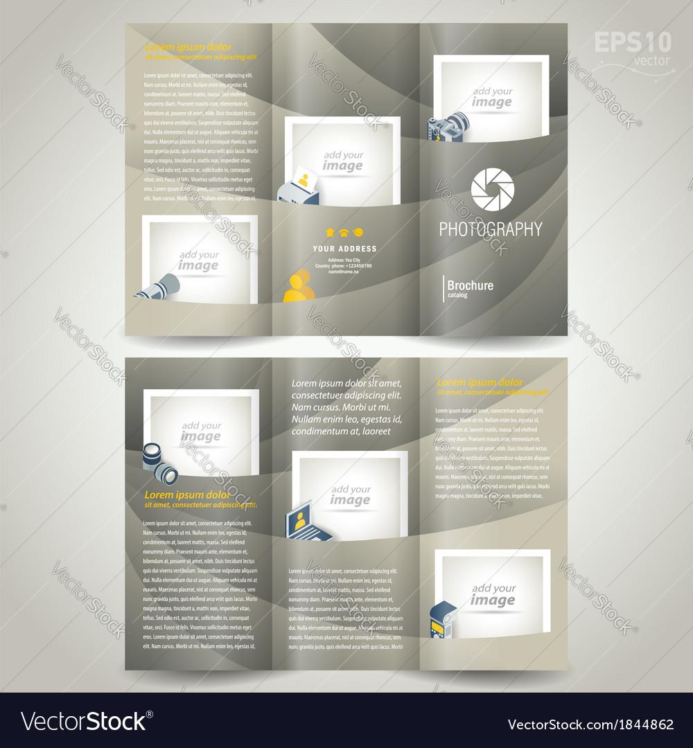 Photography brochure design template photo camera vector image for Photography brochure templates