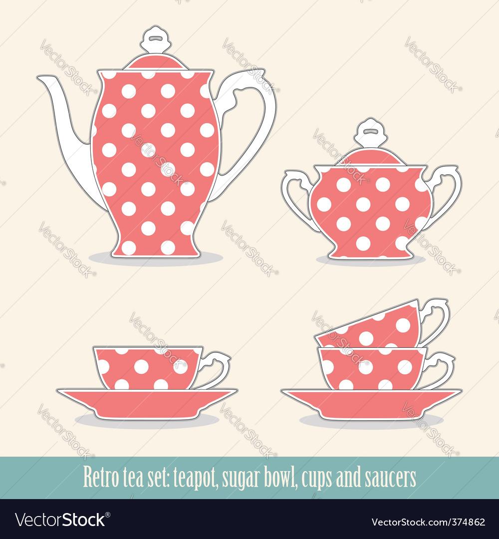 Polka dot tea set vector image