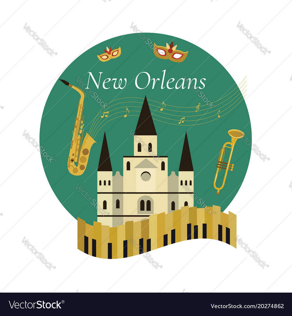 Welcome to new orleans poster with famous symbols vector image buycottarizona Images