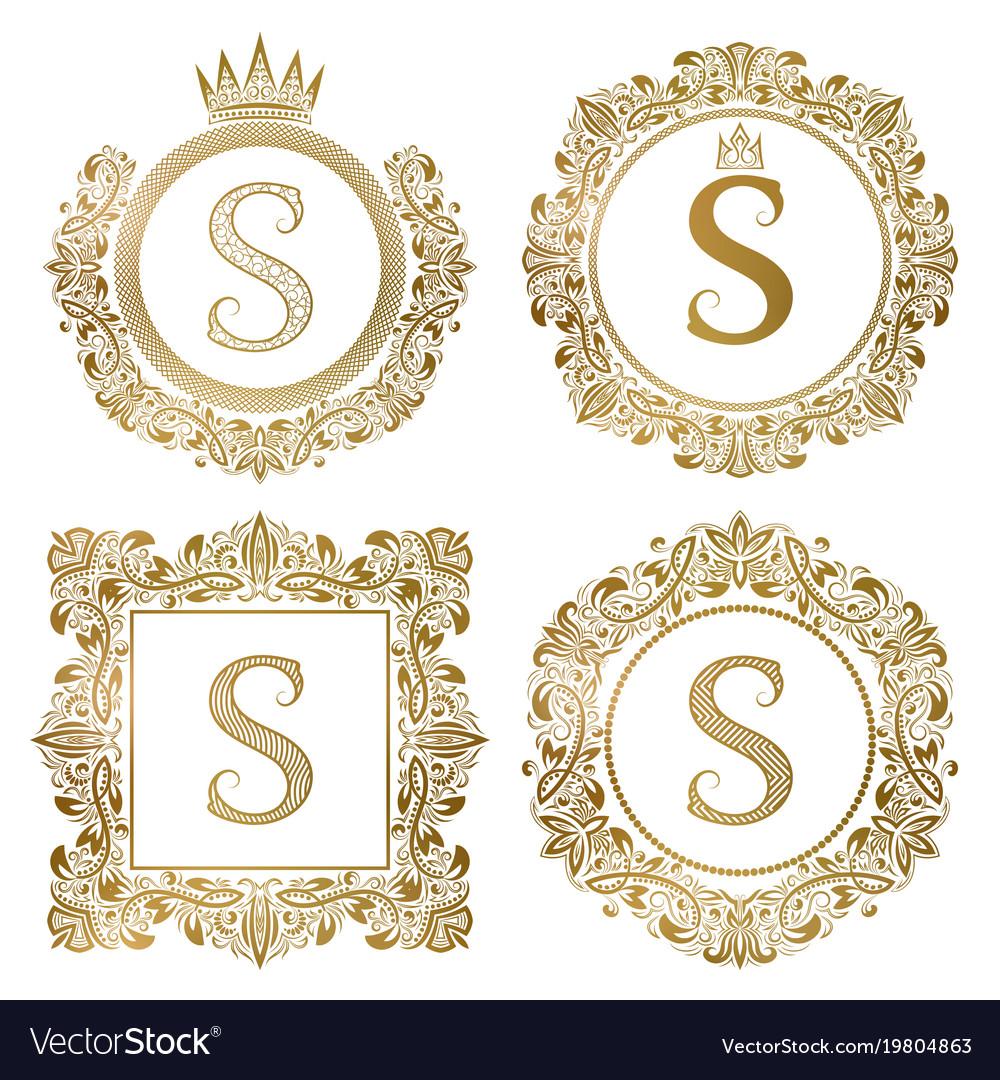 Golden letter s vintage monograms set heraldic vector image
