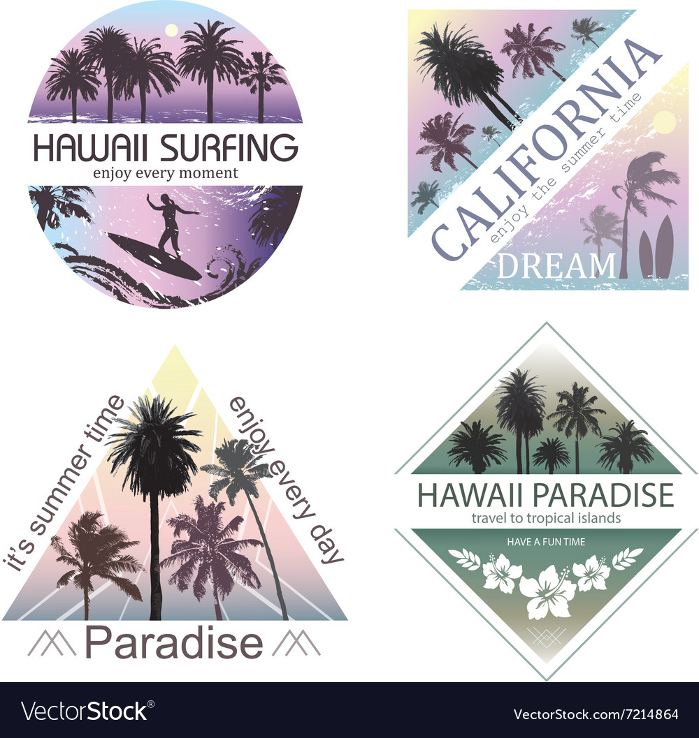 Set of Exotic Nature Landscapes with Palms vector image