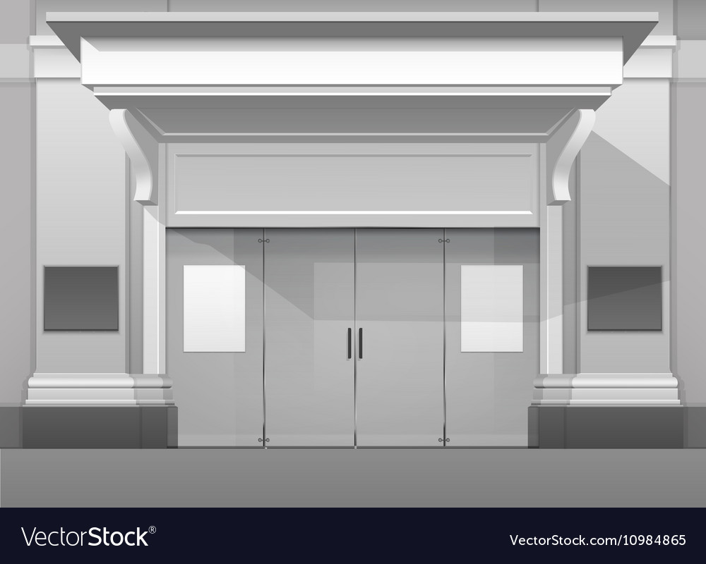 Shop building store front with closed glass door vector image planetlyrics Choice Image