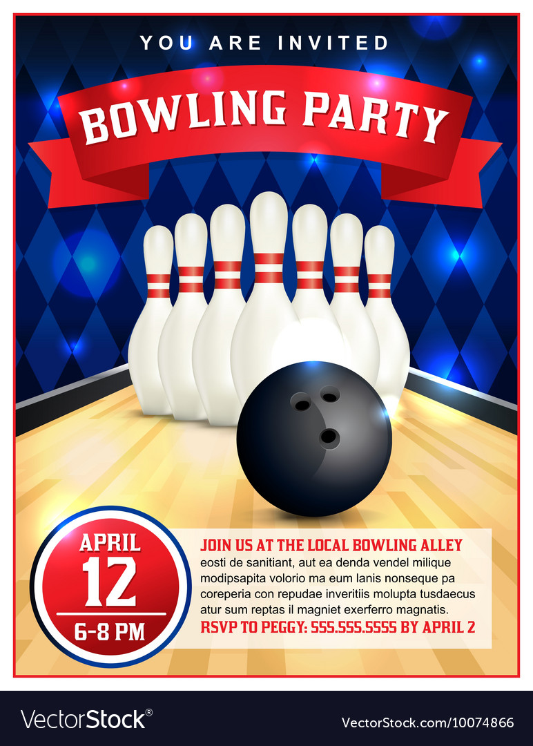 Bowling Party Flyer vector image