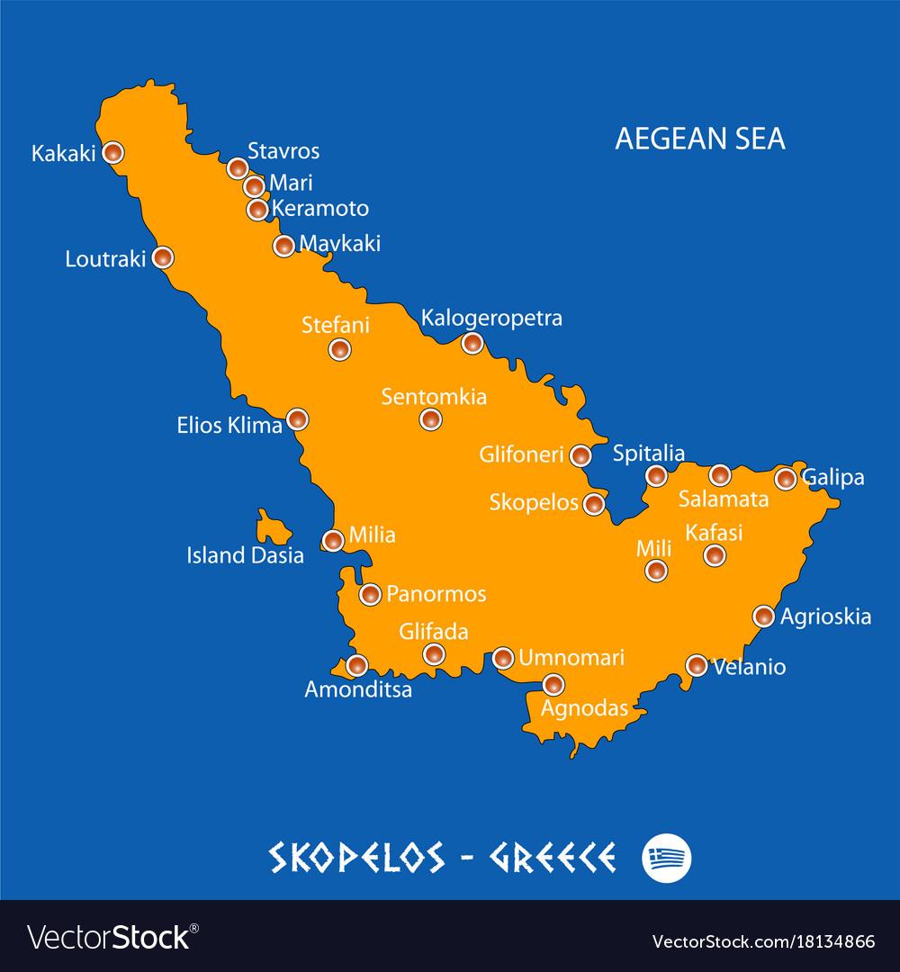 Island of skopelos in greece orange map and blue Vector Image