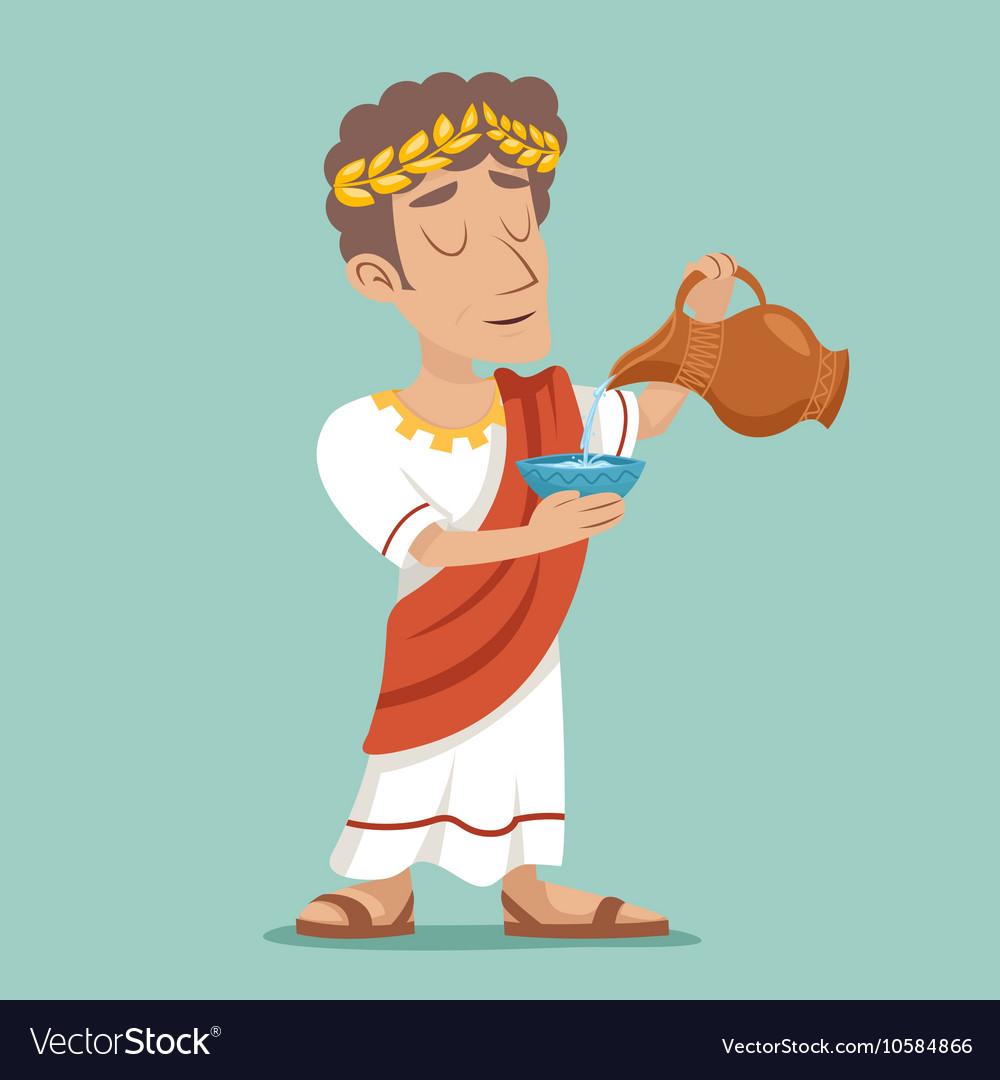Pour drink jug bowl Roman Greek Retro Vintage vector image