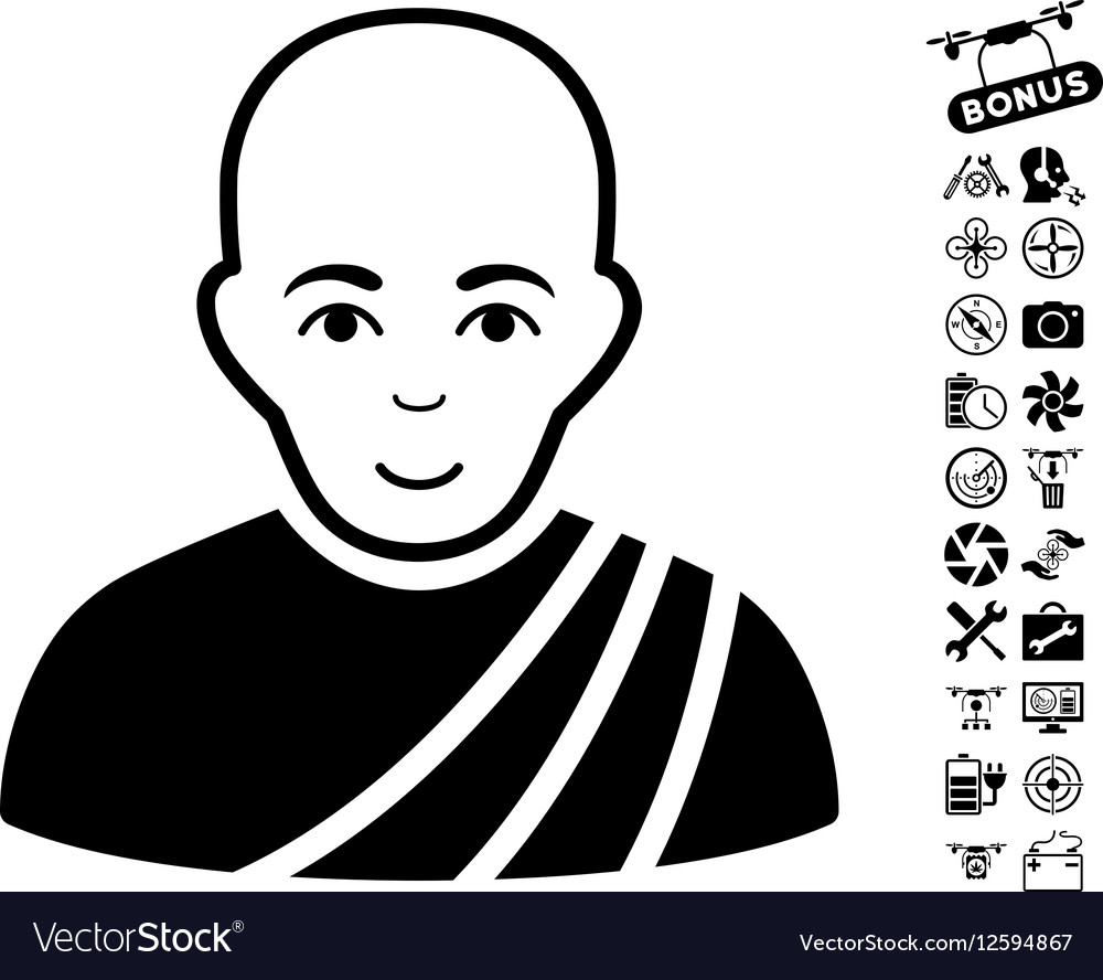 Buddhist Monk Icon With Copter Tools Bonus vector image