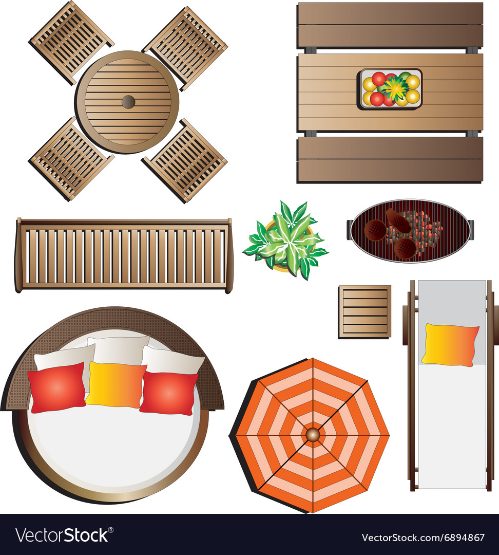 Outdoor Furniture Top View Set 13 For Landscape Vector Image