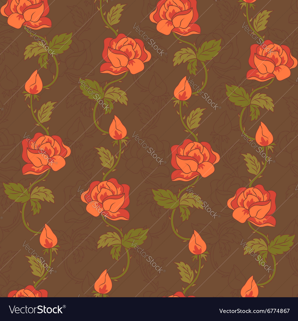 Rose pattern brown vector image