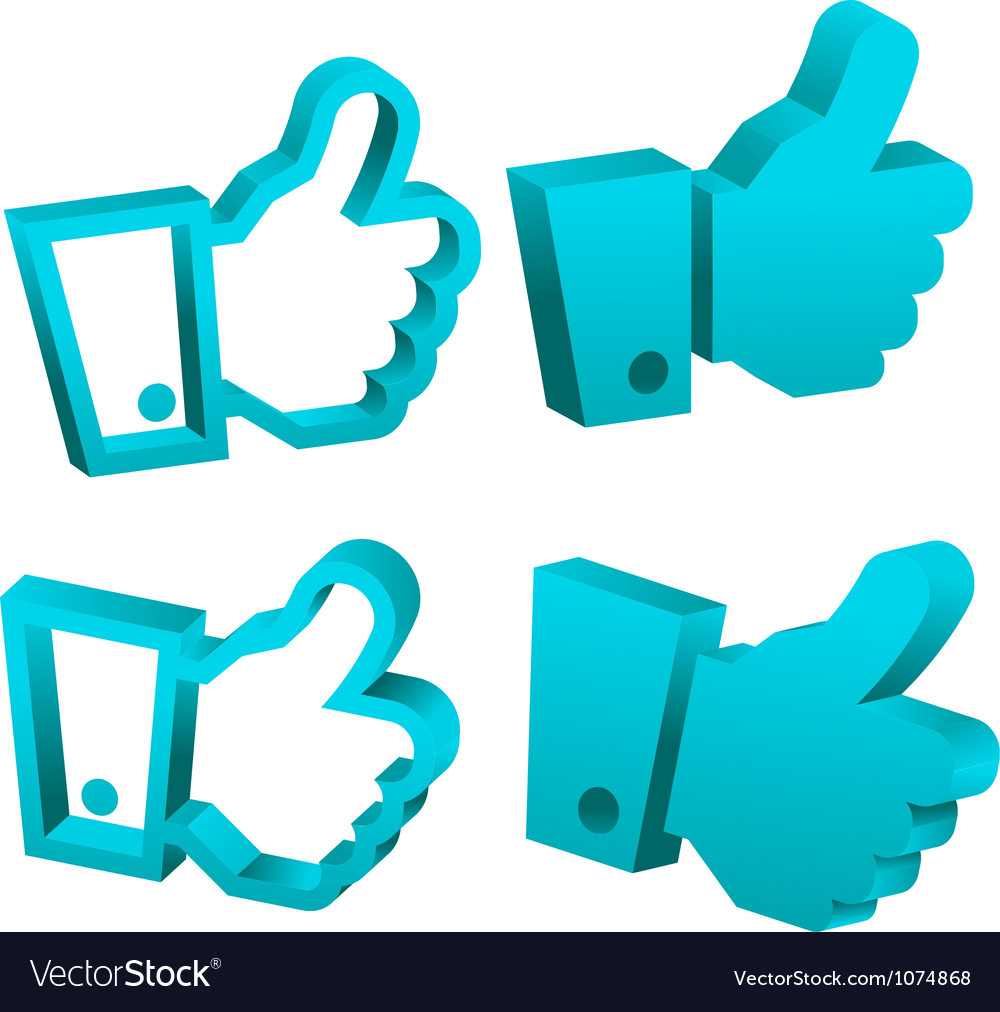 3D Blue Like It Hand Icons vector image