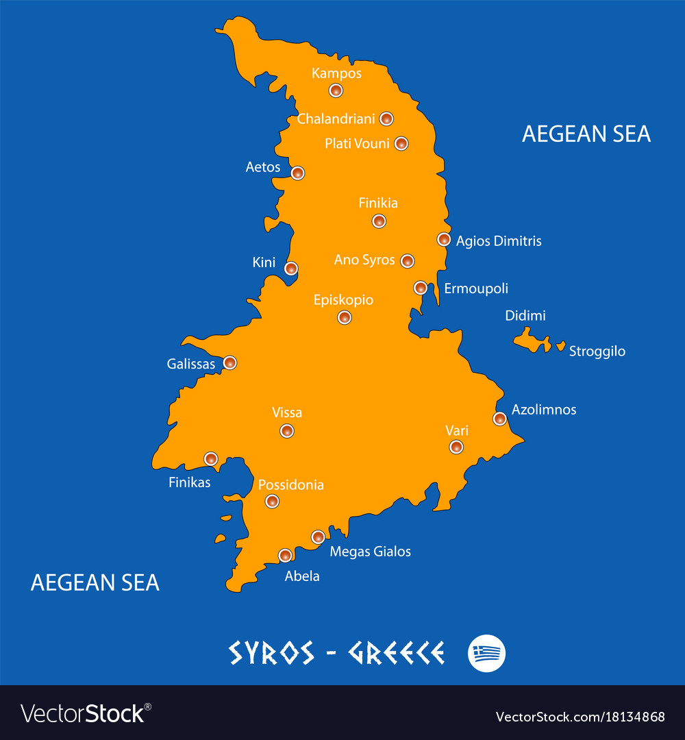 Island of syros in greece orange map and blue Vector Image