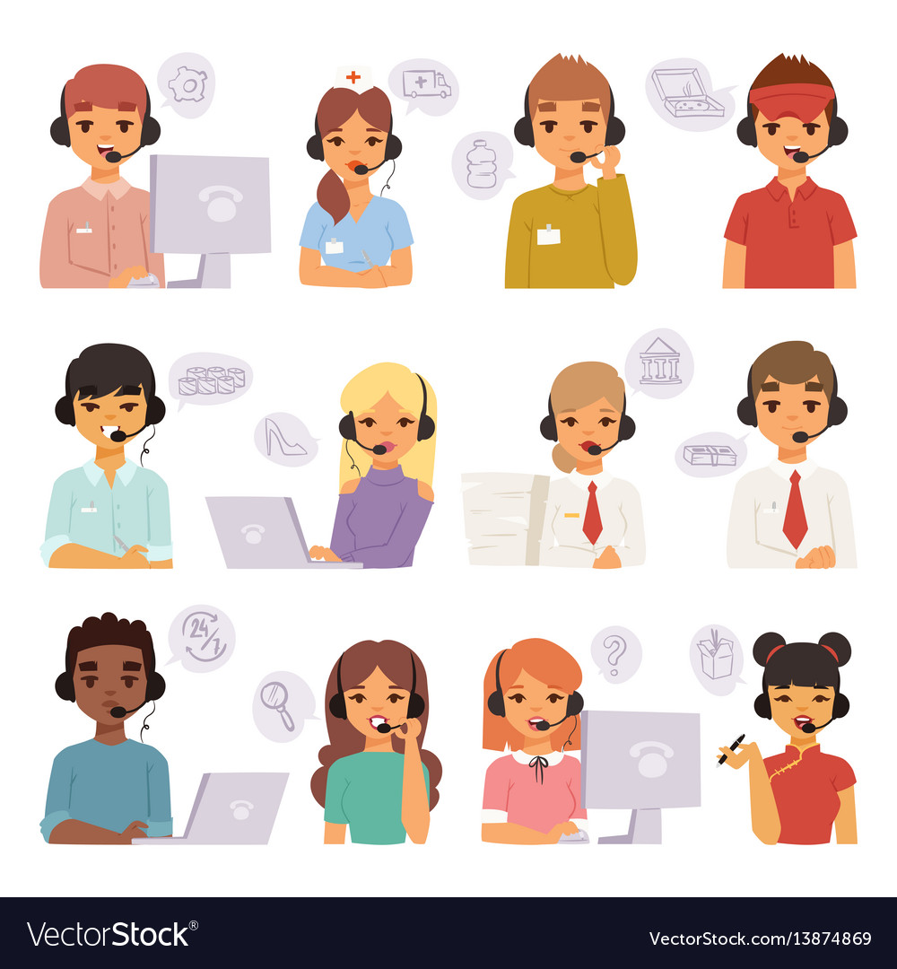 Call center agents cartoon business people with vector image