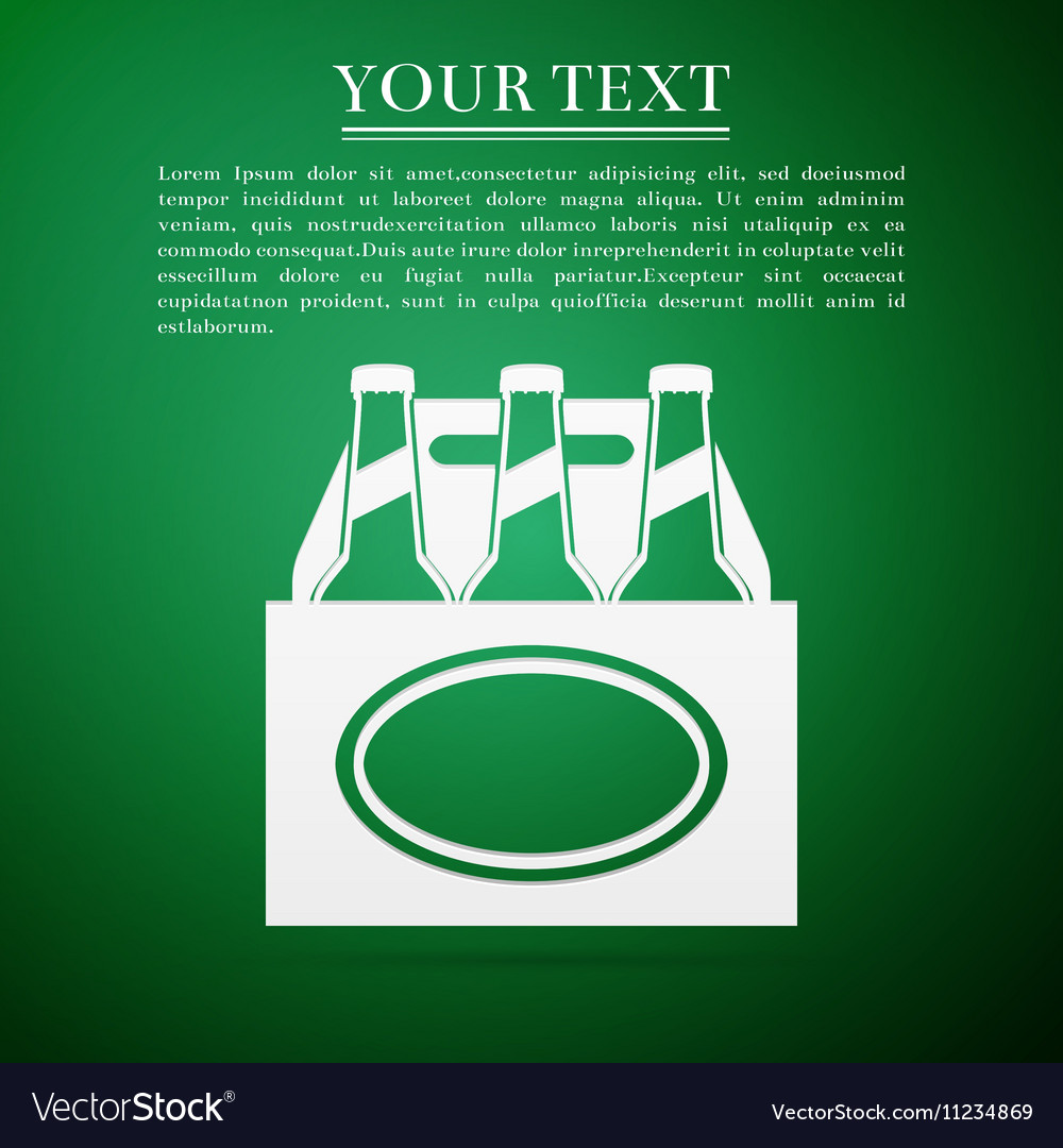 Pack of Beer flat icon on green background vector image