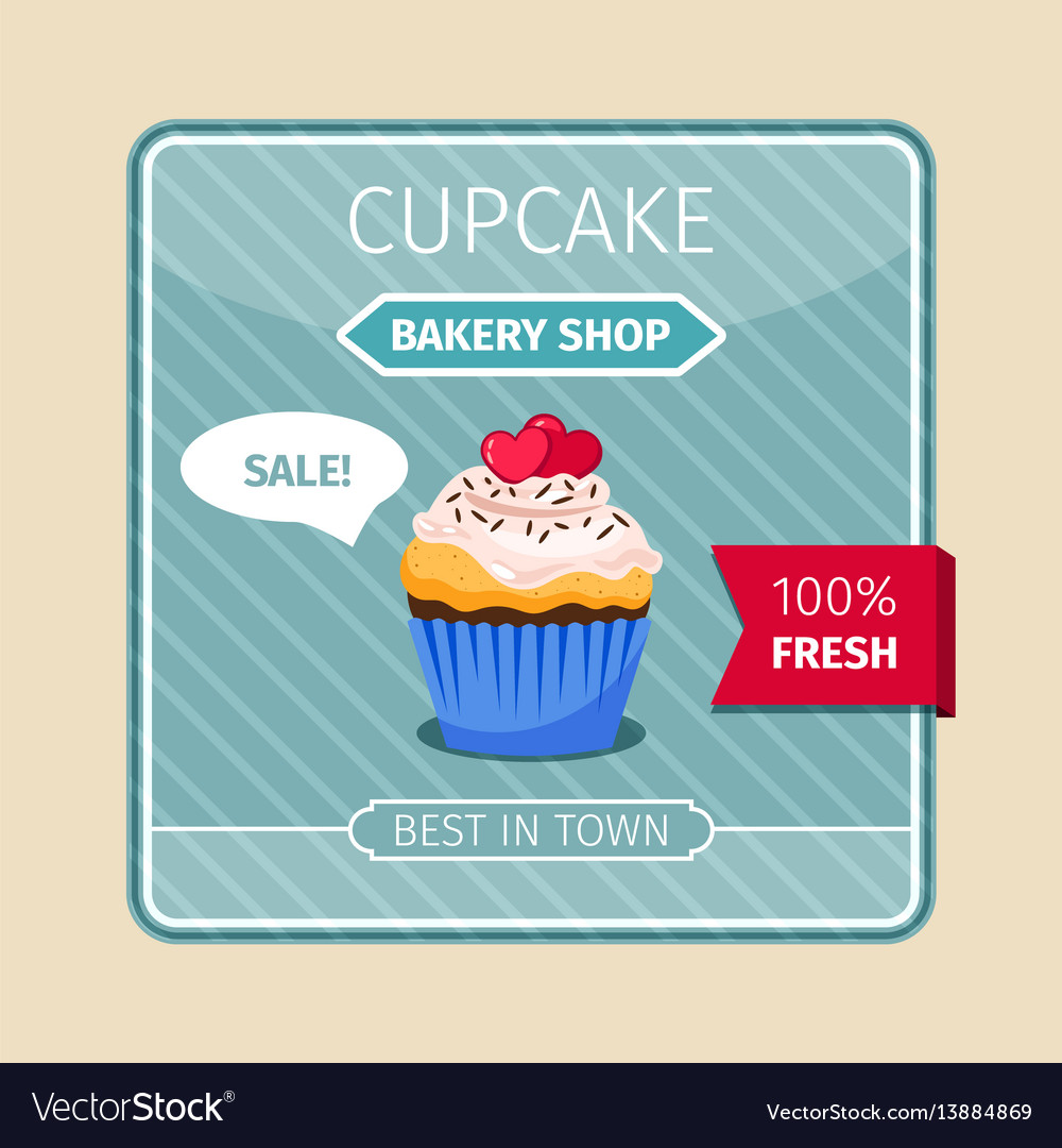 Peach color cupcake with hearts card vector image