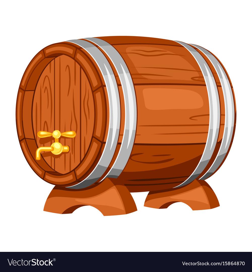 Beer wooden barrel on white background vector image