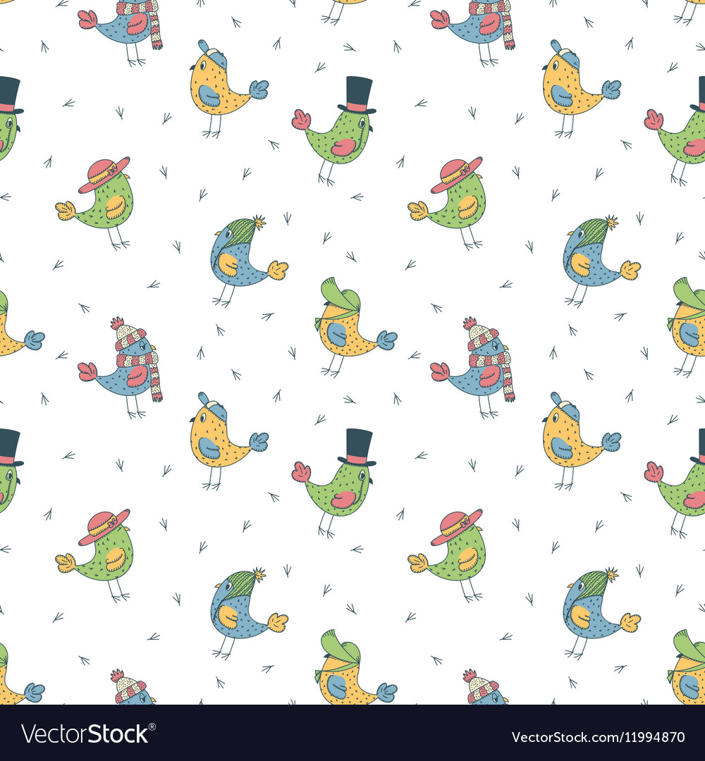 Pattern of 6 fanny birds in different hats vector image