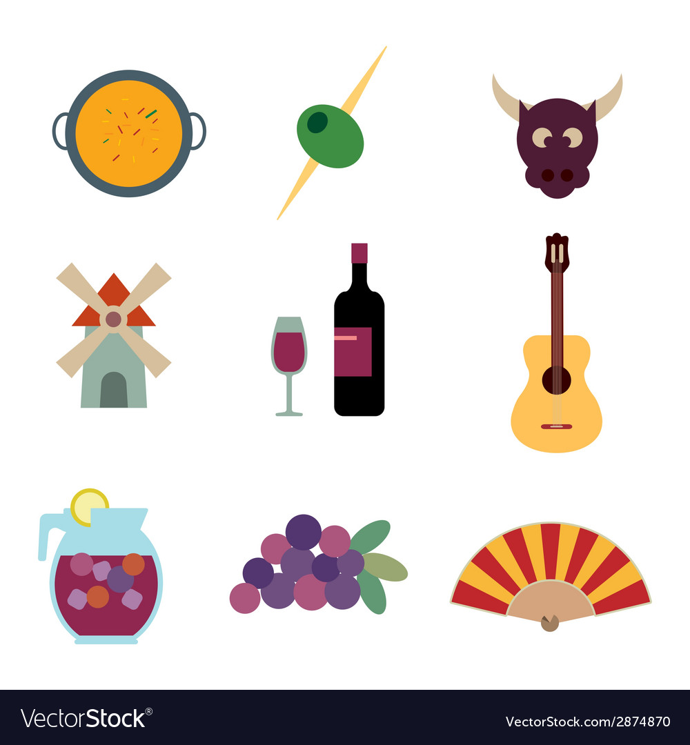 Round Composition With Spanish Symbols And I Love Spain ...