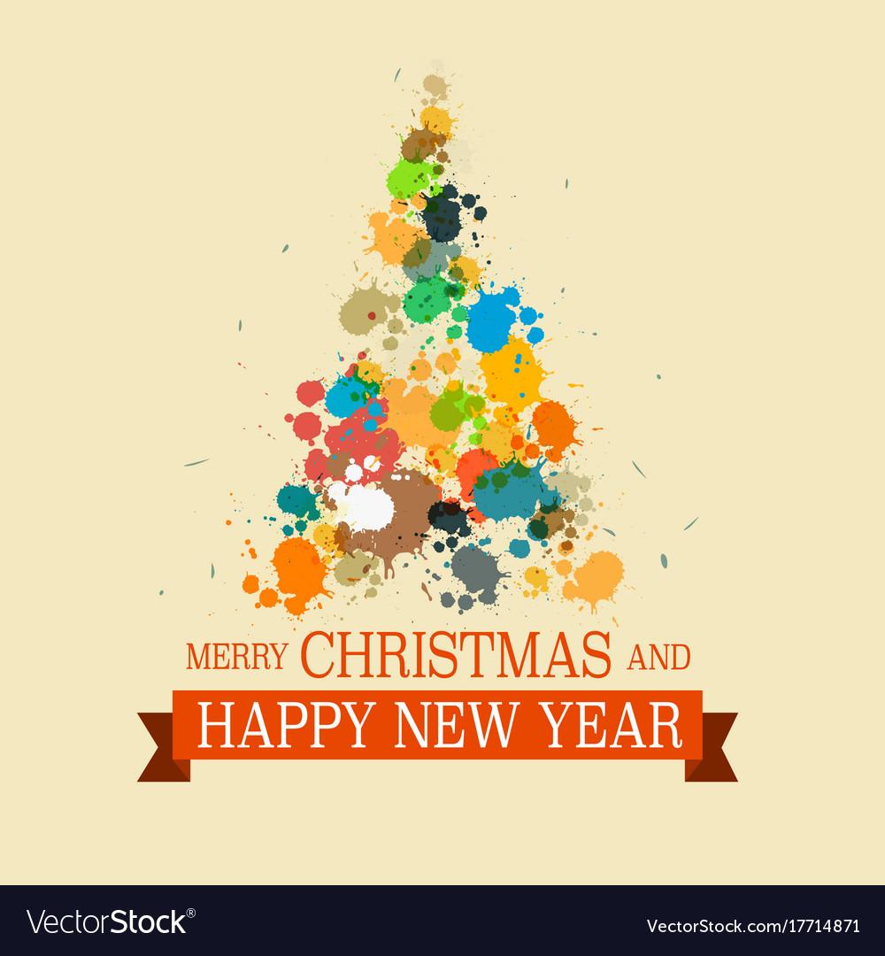 Colorful christmas tree grunge xmas card vector image