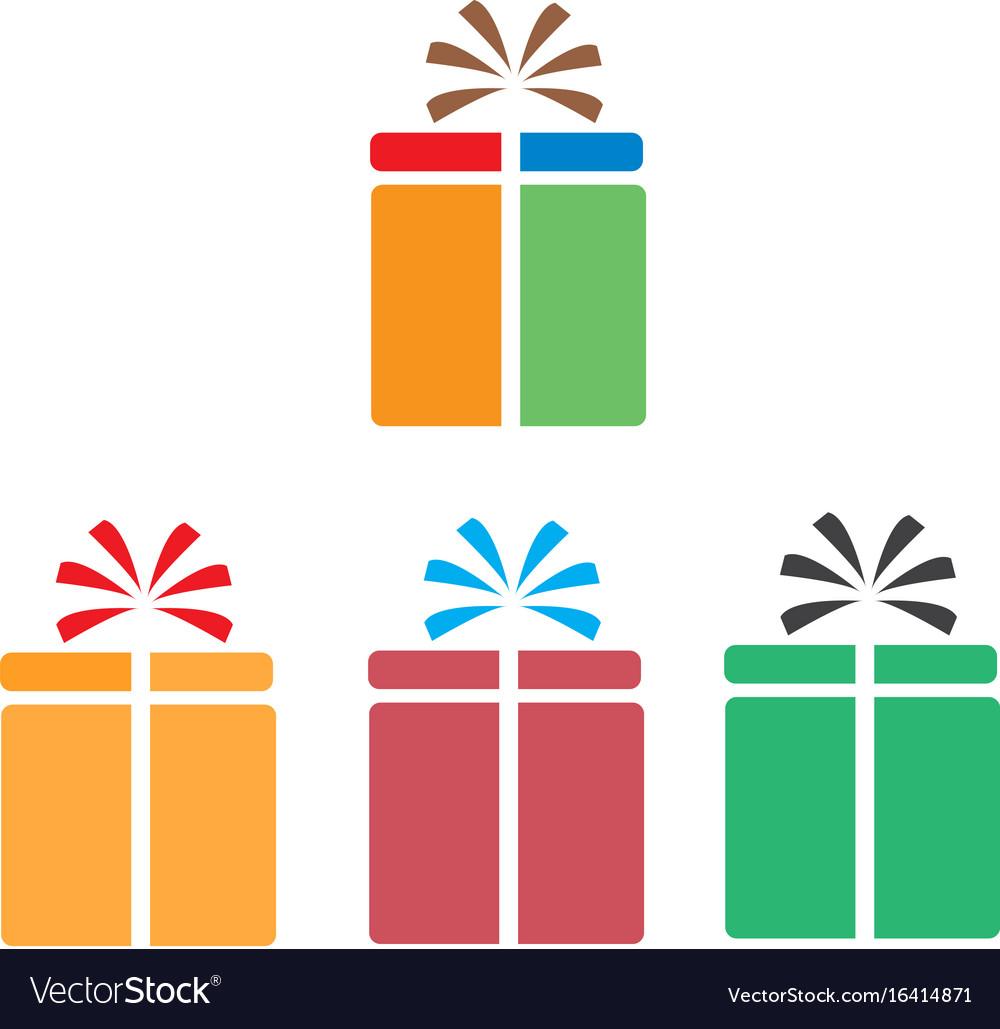 Set gift box icon on white background flat style vector image