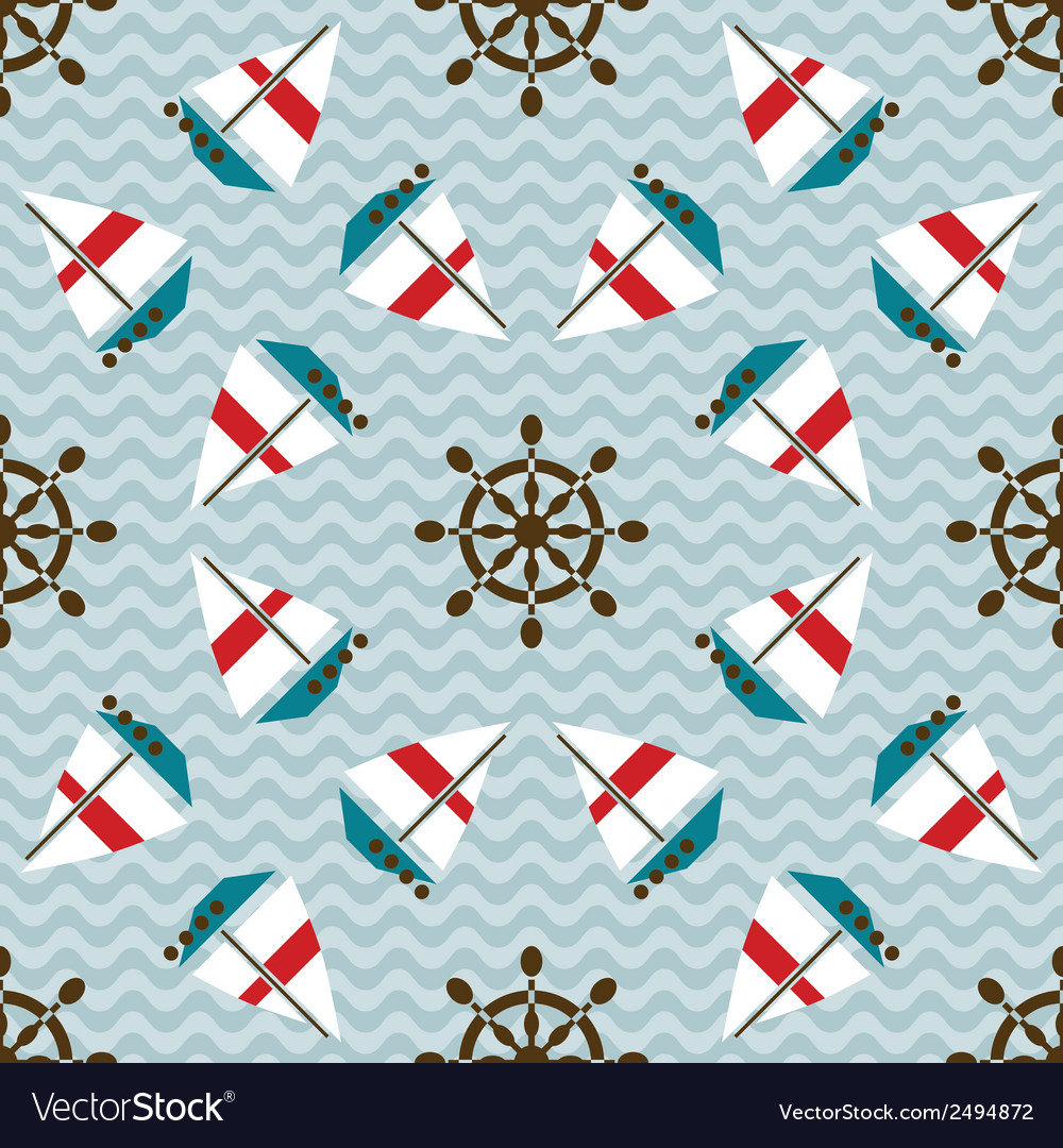 Seamless sea pattern with boats and hand wheels vector image