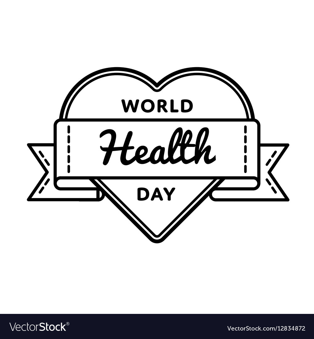 World Health day greeting emblem vector image