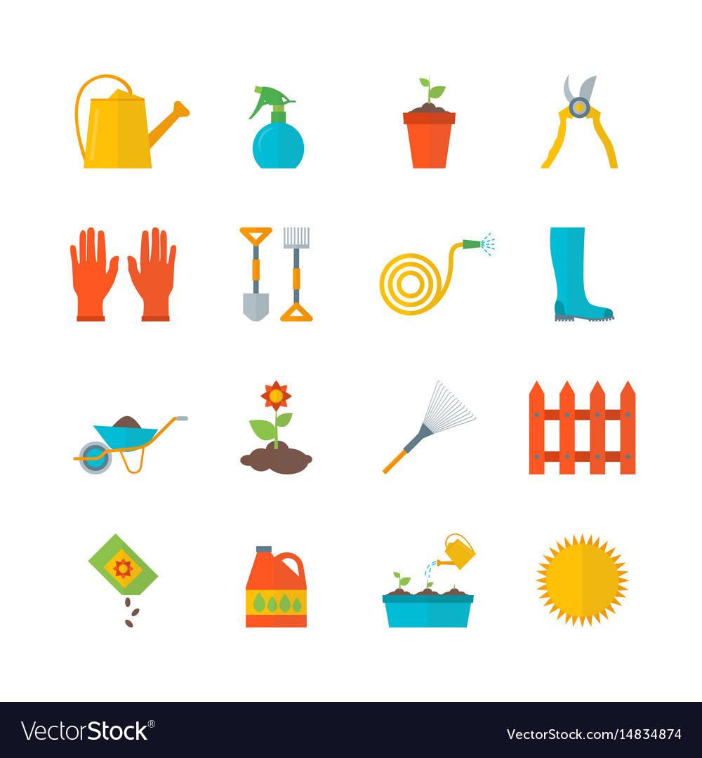 Cartoon gardening equipment color icons set vector image