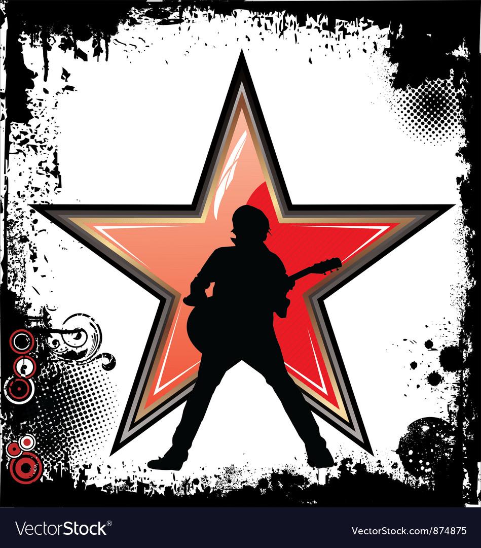 Rock star grunge background vector image