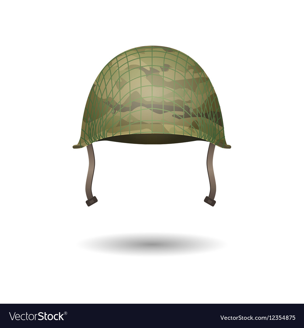 Design of military modern helmet with camouflage vector image