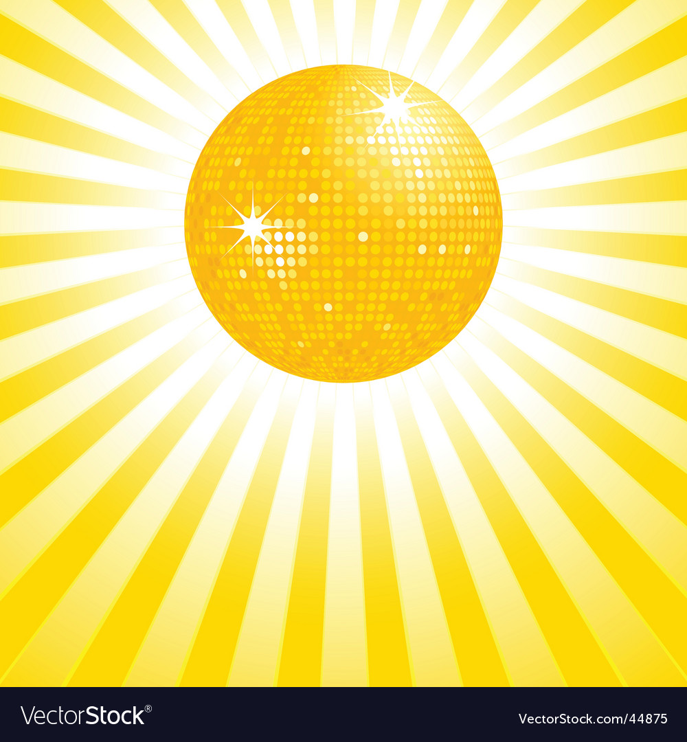 Gold disco ball background vector image