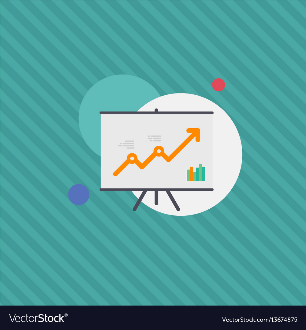 Graph monitoring growth satistics flat illu vector image