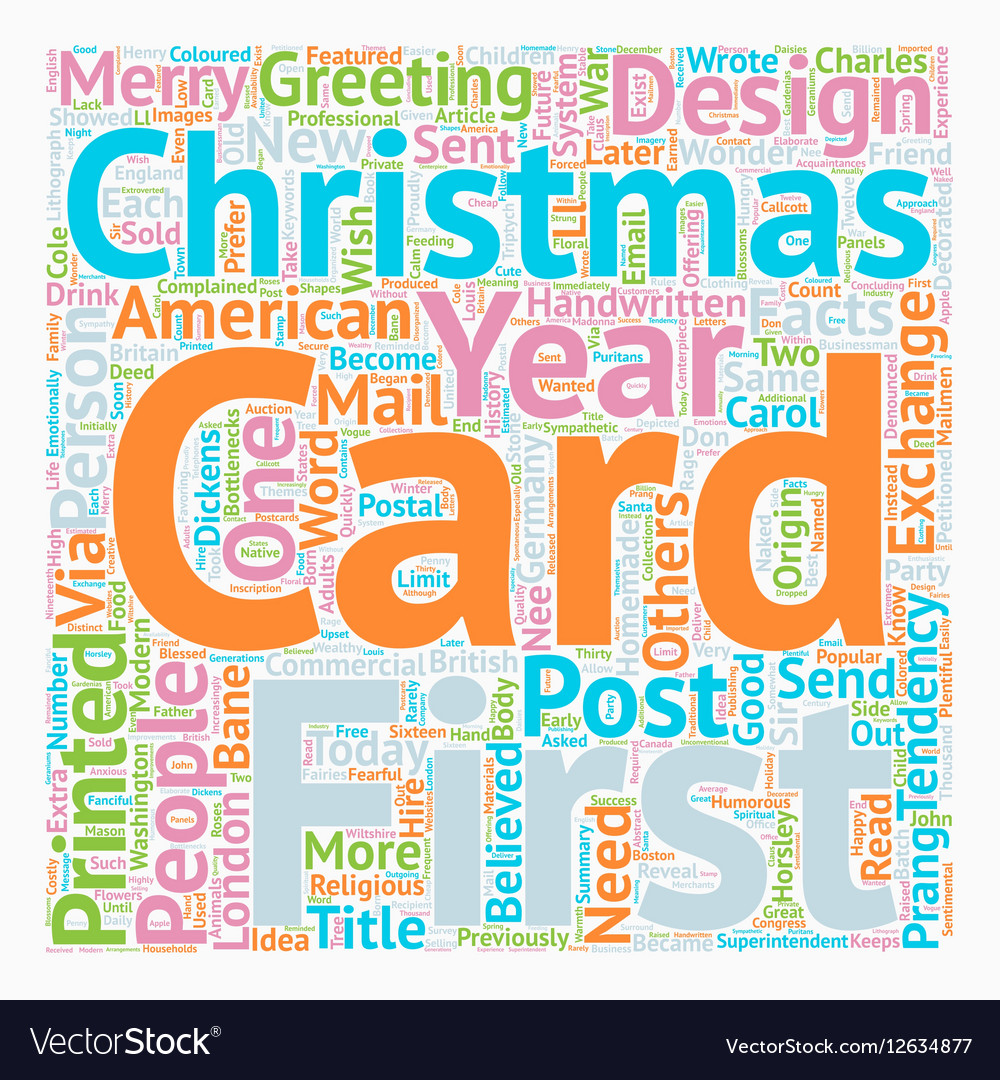 Christmas Cards Facts text background wordcloud vector image