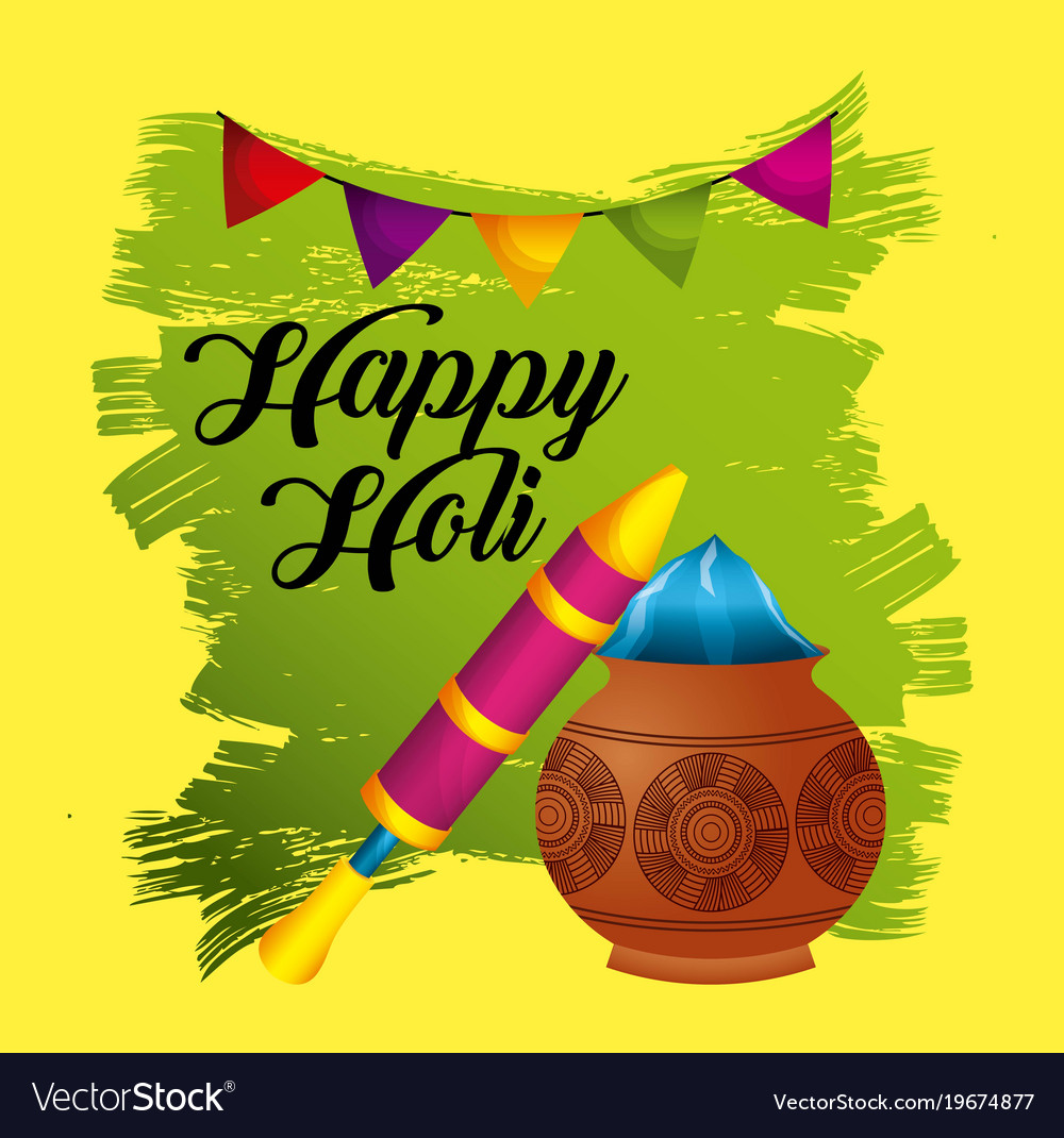 Happy holi festive party traditional poster Vector Image