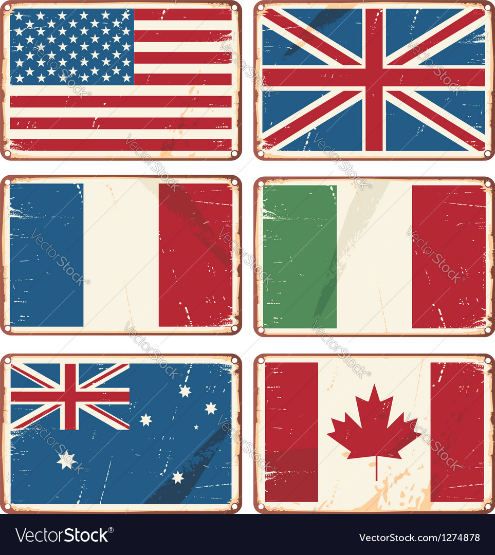 Retro tin signs with state flags Vector Image