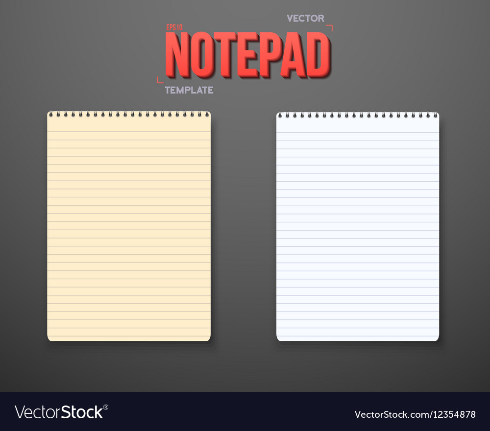 Notepad Set Notebook White Yellow Sheets vector image
