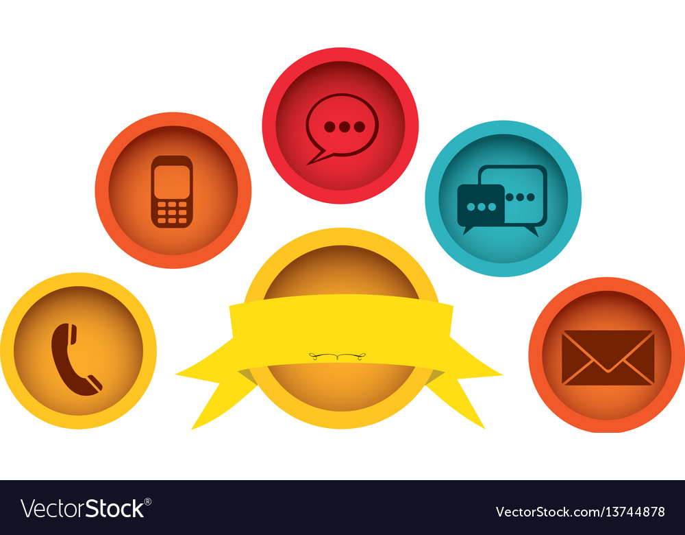 Technology apps connections with emblem and ribbon vector image