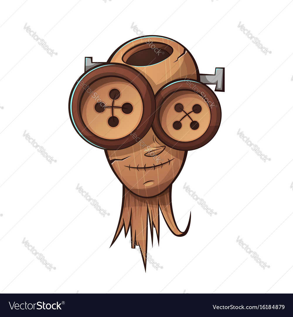 Wooden head face people cartoon vector image
