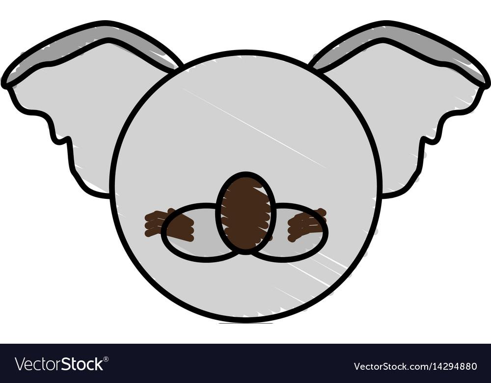 Drawing koala face animal vector image