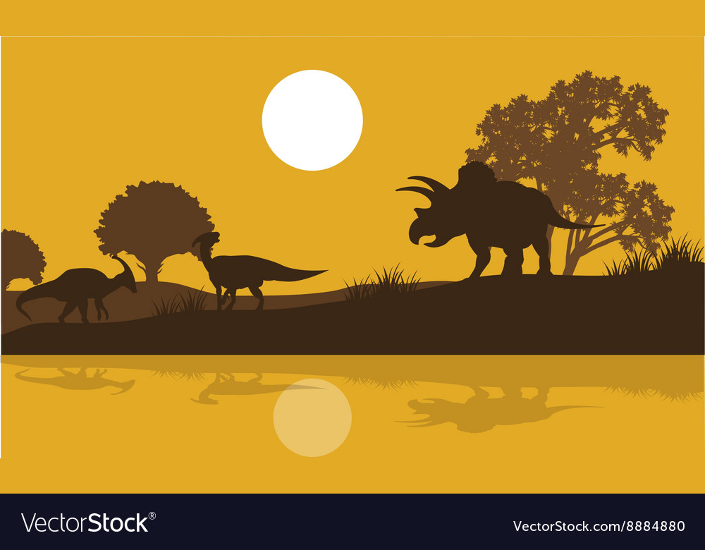 Silhouette of triceratops and parasaurolophus vector image