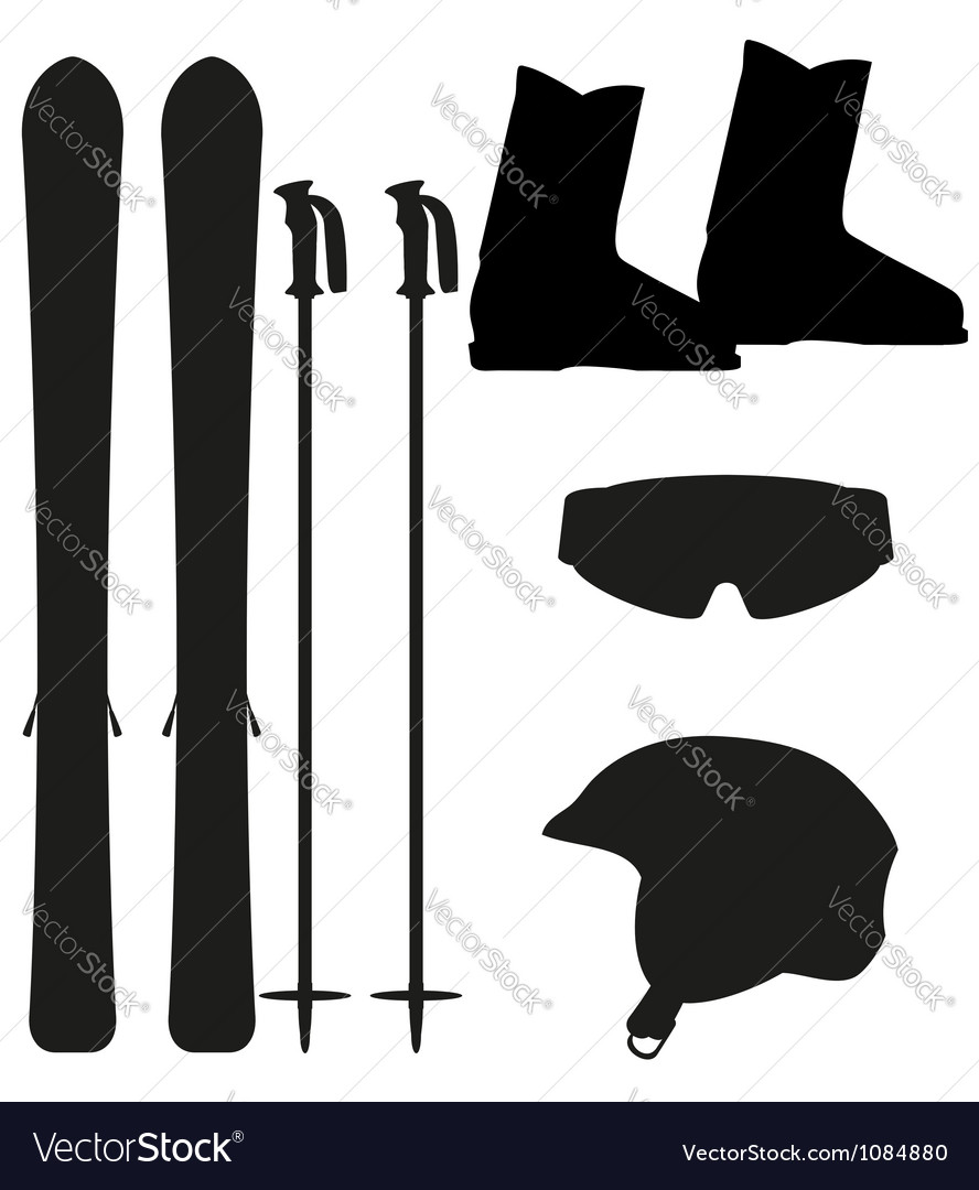 Ski equipment icon set silhouette vector image