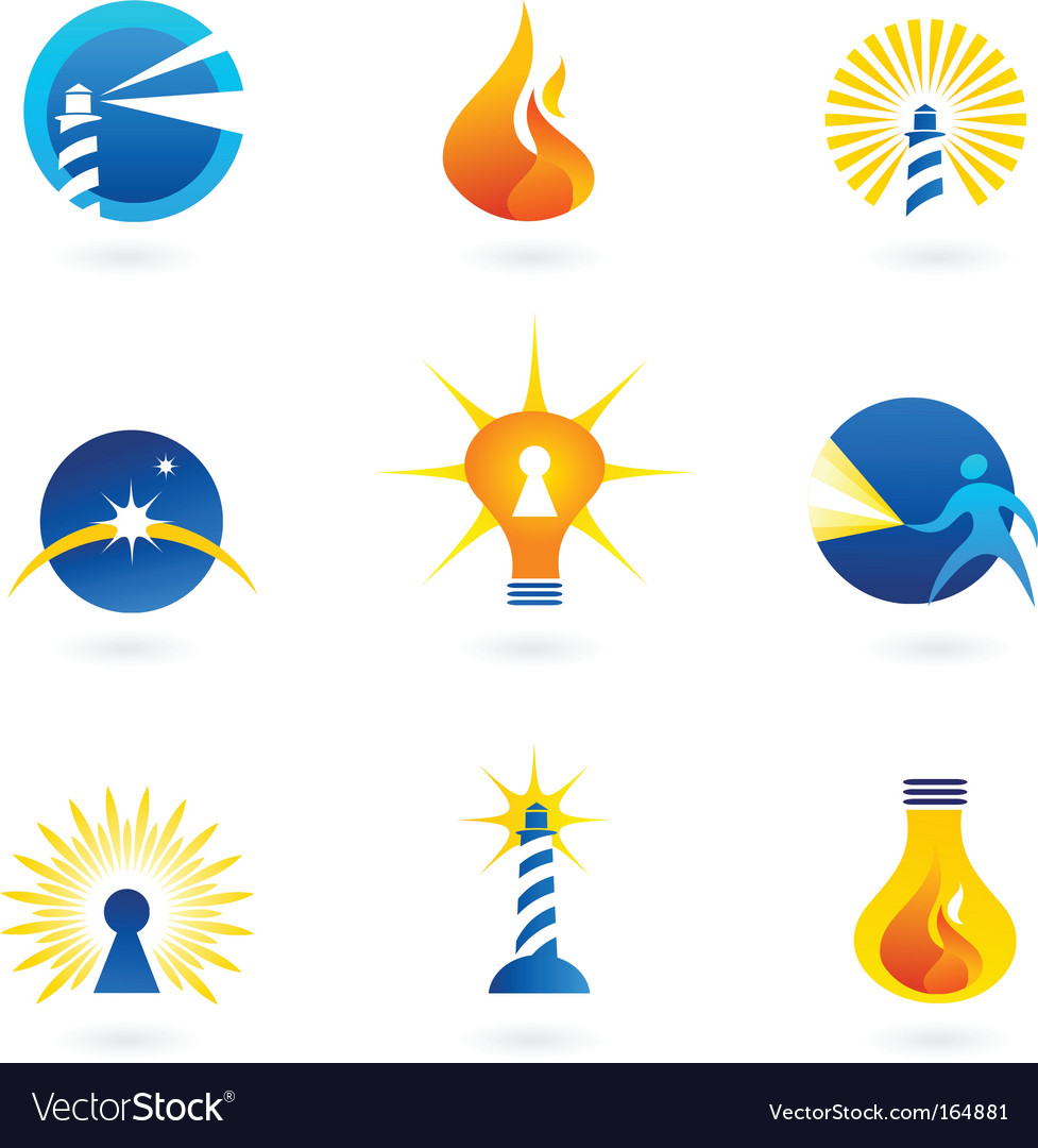 Lamp and lighthouse logos vector image