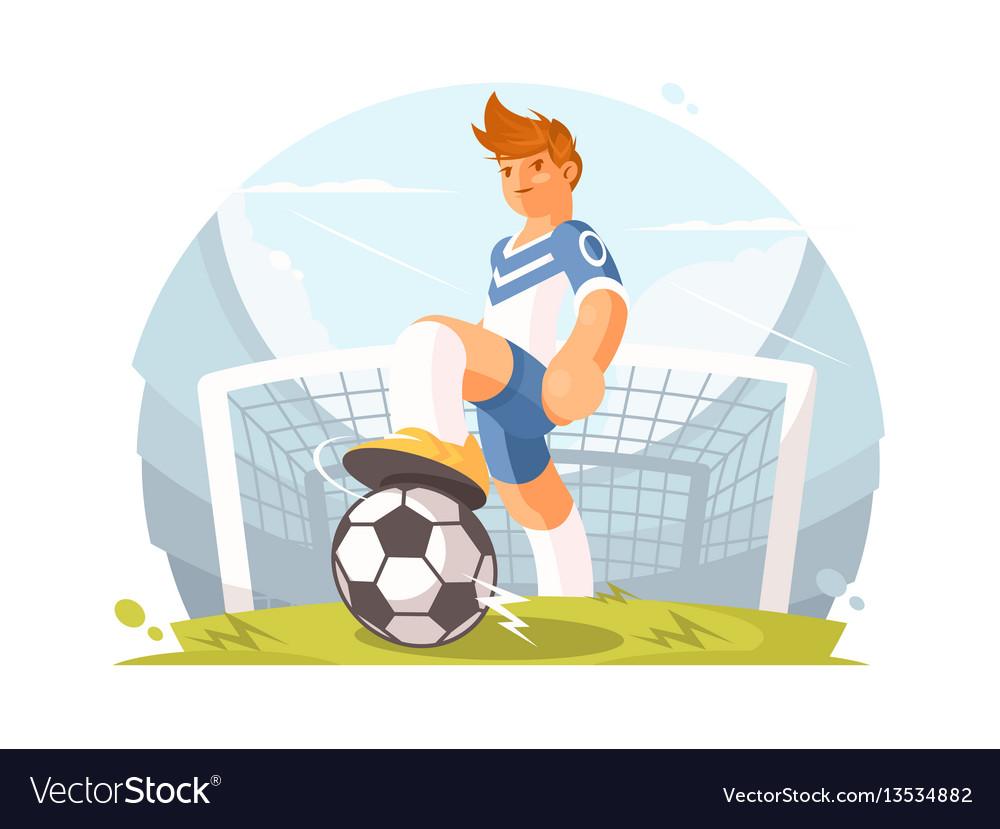 Cartoon character football player vector image