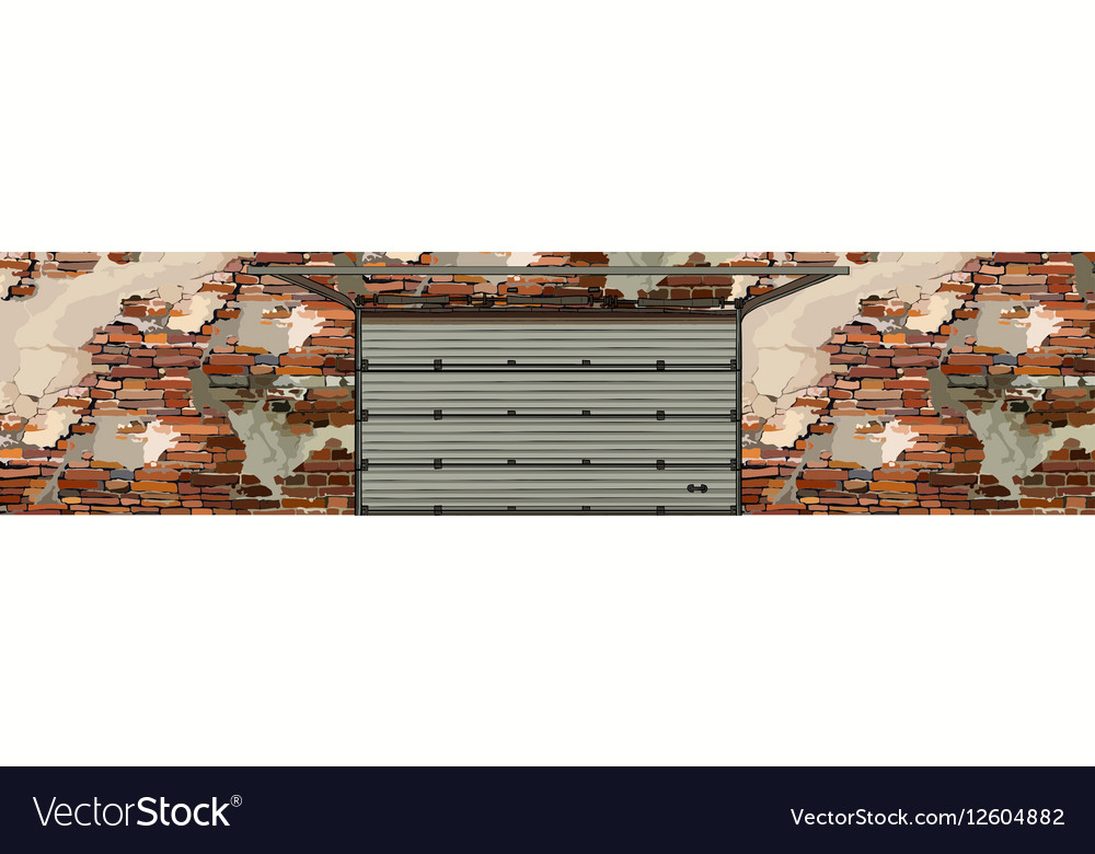 Garage Doors In The Background Of A Shabby Brick Vector Image