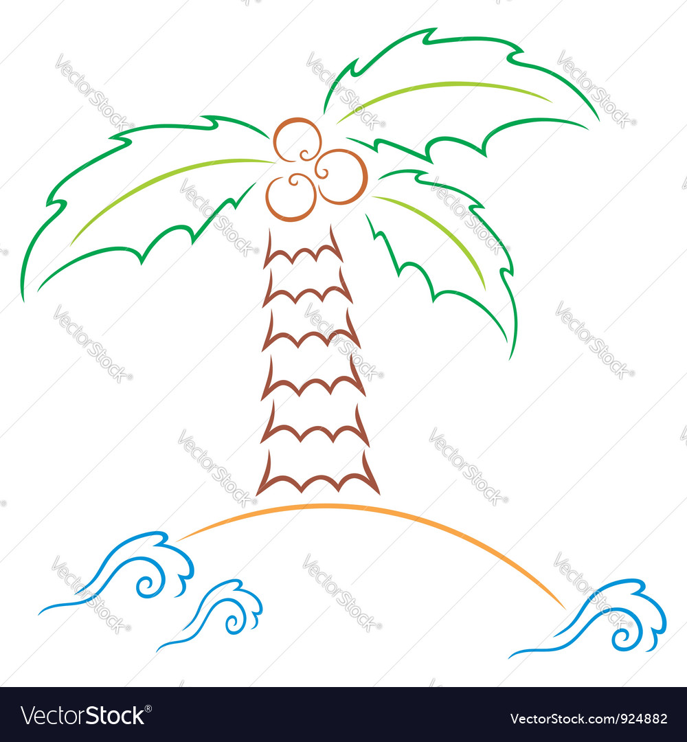 Palm at island vector image