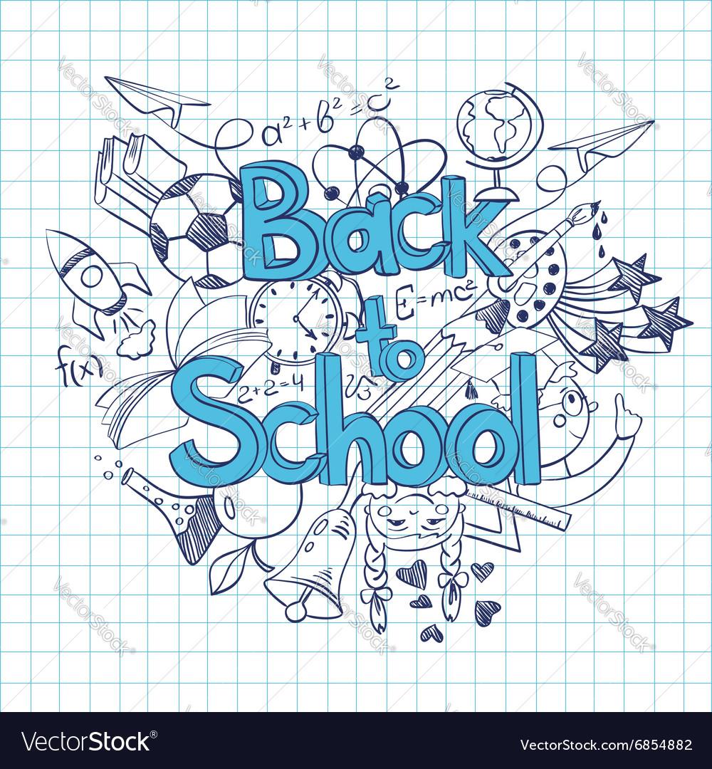 Sketch Back to School Background vector image