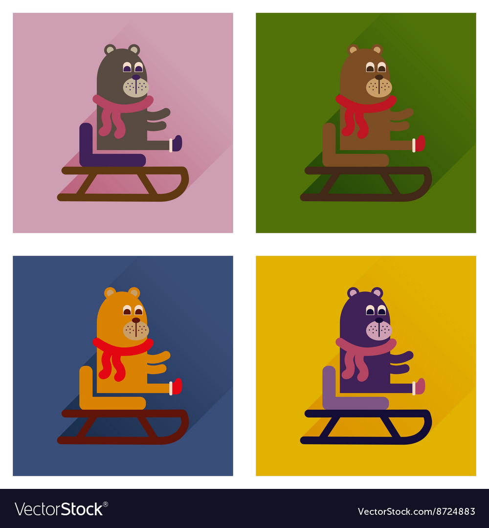 Concept of flat icons with long shadow bear sled