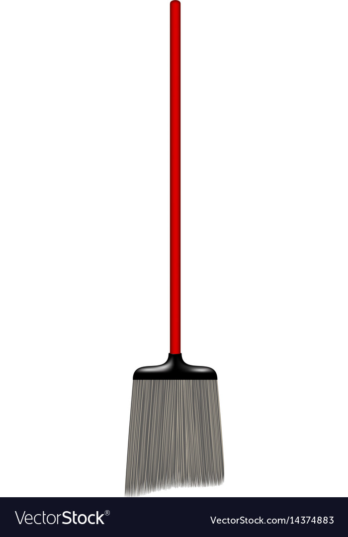 Broomstick with red handle vector image