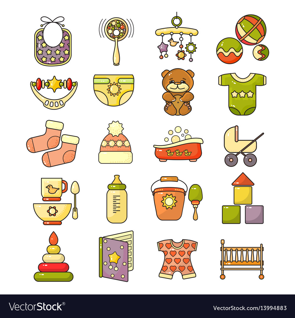 Ector set of flat design cute colorful baby icon vector image