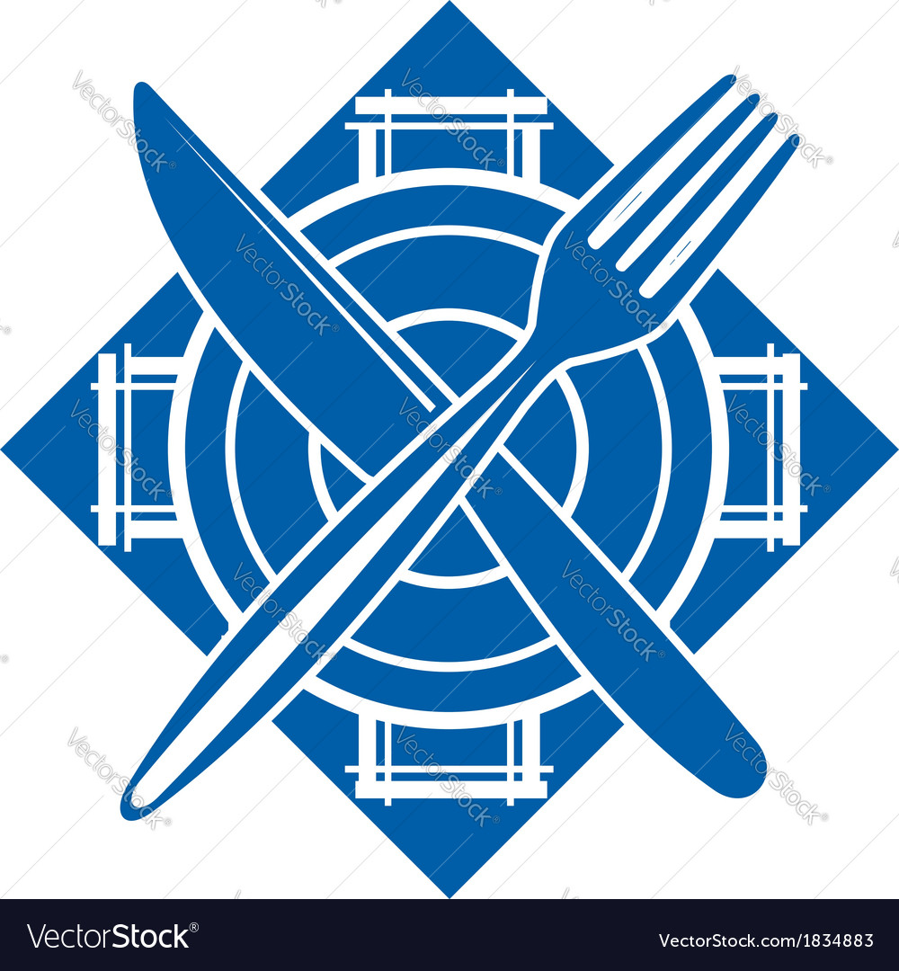 Fork and a knife crossed on a dish on white vector image